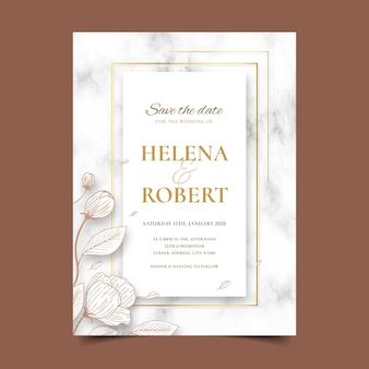 花と結婚式の大理石カードテンプレート
