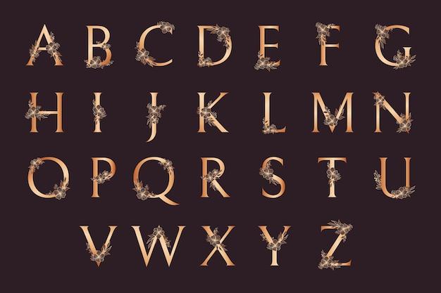 Роскошный золотой алфавит с цветами