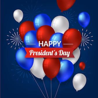 現実的な風船での大統領の日のお祝い