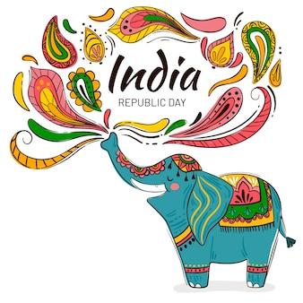 フラットなデザインのインド共和国記念日のイベント