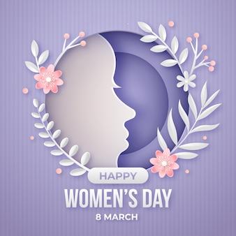 Празднование женского дня в бумажном стиле