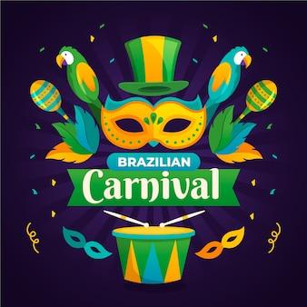 Плоский дизайн бразильский карнавал тема