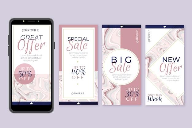 Продажа инстаграм историй в мраморном стиле