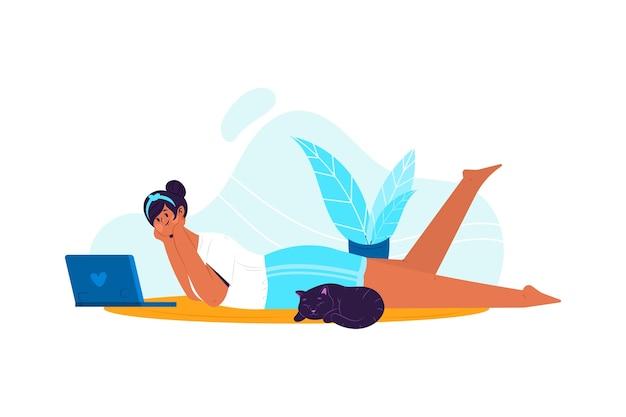Персона, расслабляющая дома тема для иллюстрации