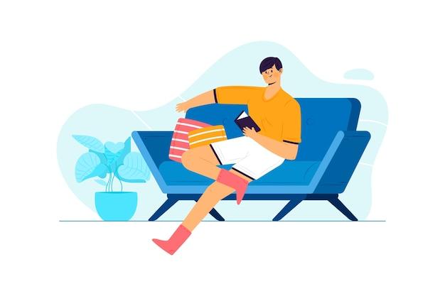 Персона расслабляющий на дому концепции для иллюстрации