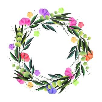 水彩風の花の花輪