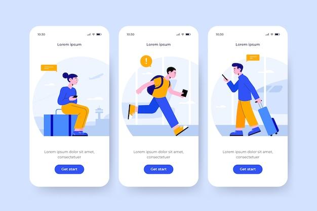 旅行デザインのオンボーディングアプリ画面