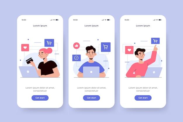 オンライン購入の概念のオンボーディングアプリ画面