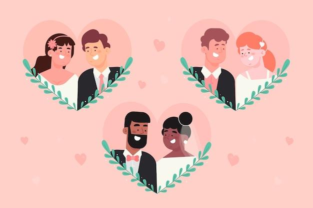 Плоский дизайн концепции коллекции свадьбы пара