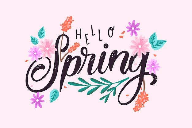 手描きの春の背景と花