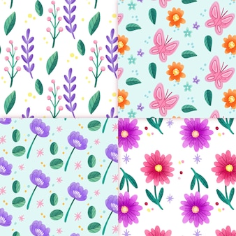 水彩花春パターンコレクション