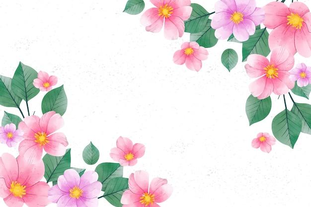 パステルカラーの水彩花の背景