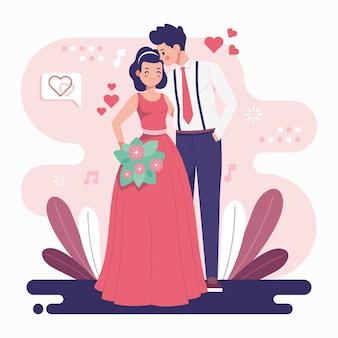 Свадебная пара в плоском дизайне