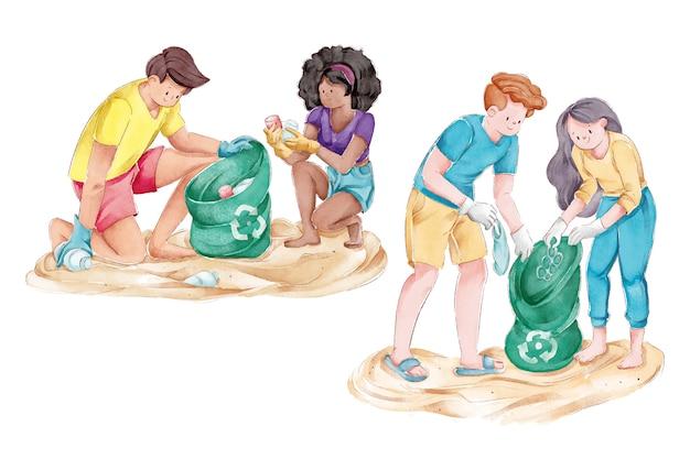 ビーチを掃除する生態学の人々のグループ