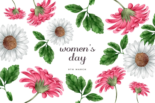 花の水彩画の女性の日の概念