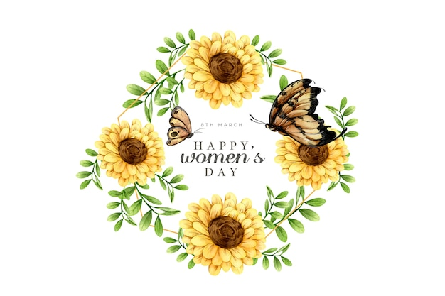 花の水彩画の女性の日