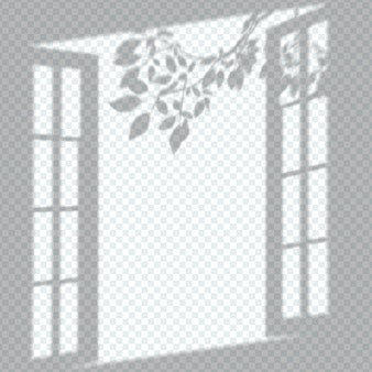透明な窓の影のオーバーレイ効果