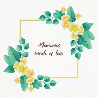 引用と水彩春花のフレーム
