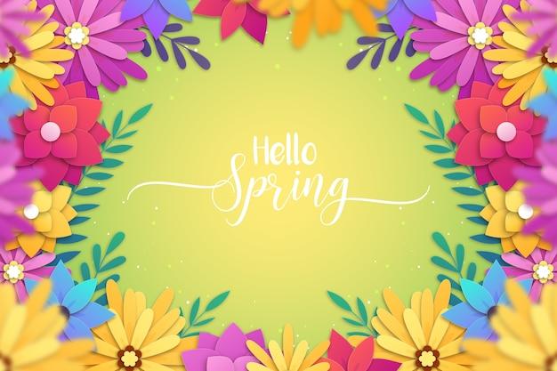 紙のスタイルでかわいい春の背景