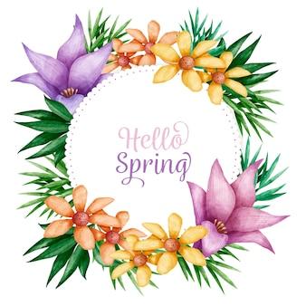 美しい水彩画春花のフレーム