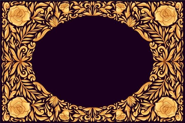 黄金の装飾用の花の背景