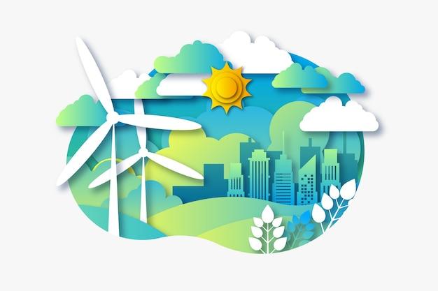 Экологическая концепция в бумажном стиле с городом и ветряными мельницами