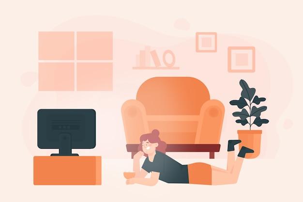 Человек отдыхает дома иллюстрации