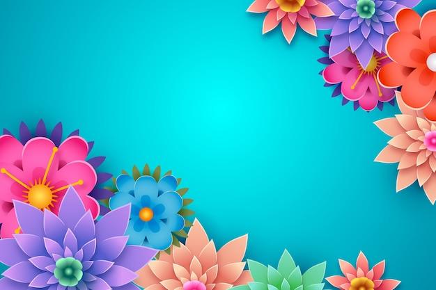 花のフレームとコピースペースと春の背景