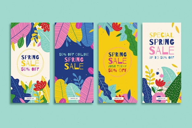 Композиция из красочных цветочных инстаграм историй