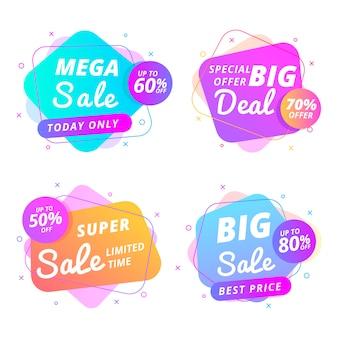 Концепция сбора красочных баннеров продаж