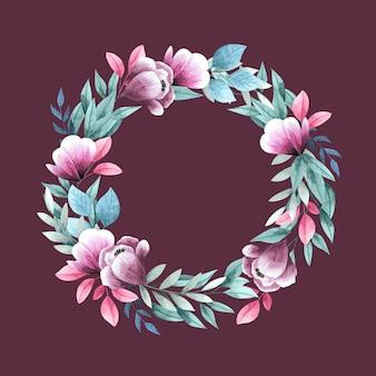Пышный цветочный венок в стиле акварели