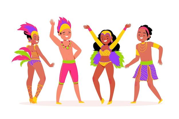 Счастливые люди танцуют и празднуют бразильский карнавал