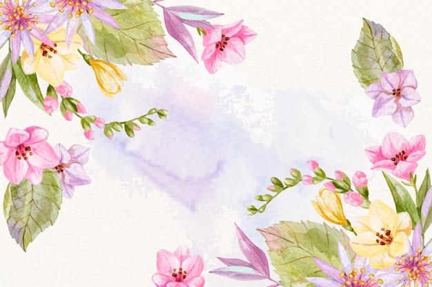 背景のパステルカラーの水彩画の花