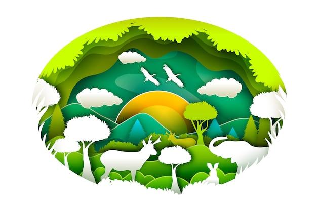 紙のスタイルで環境自然概念
