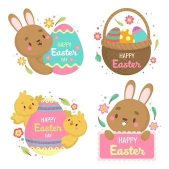 茶色のウサギと幸せなイースターの日ラベル