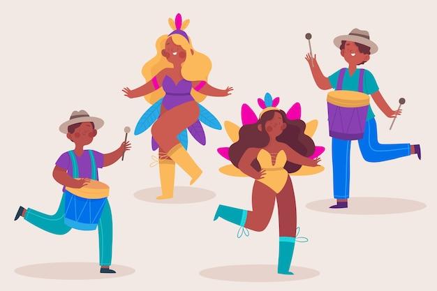 Коллекция бразильских карнавальных танцоров