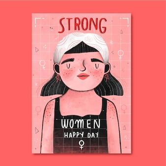強い女性の幸せな日の女性の権利