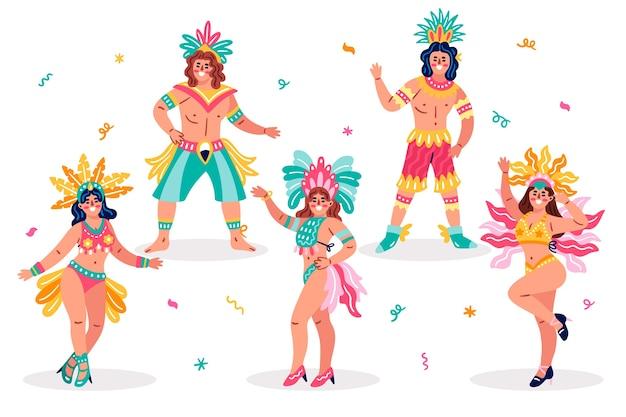 伝統的なブラジルの女性ダンサーと服