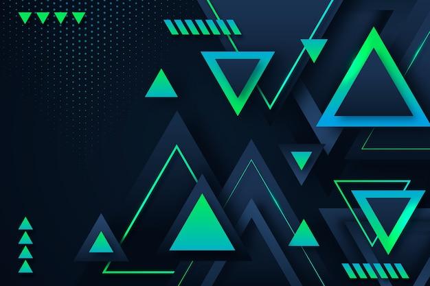 暗い背景にグラデーションの三角形