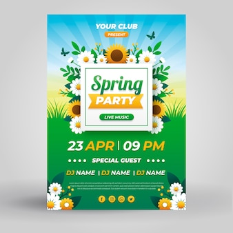 Шаблон плаката весенняя вечеринка в плоском дизайне
