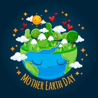 かわいい母なる地球のフラットの図