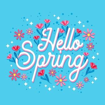 美しい花と春のレタリング