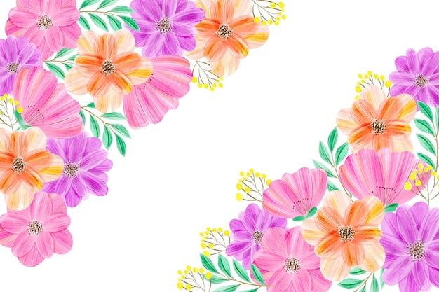 パステルで水彩画の花の背景