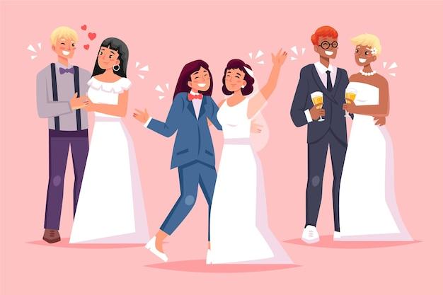フラットなデザインの結婚式カップルイラストセット