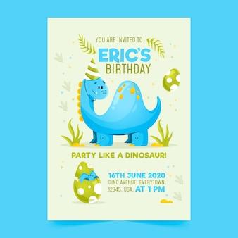 Детский шаблон приглашения на день рождения с динозавром