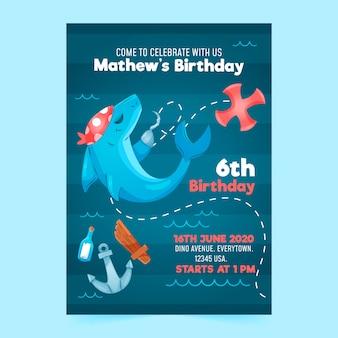 Детский шаблон приглашения дня рождения с акулой