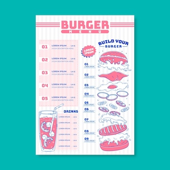 Концепция шаблона меню бургер