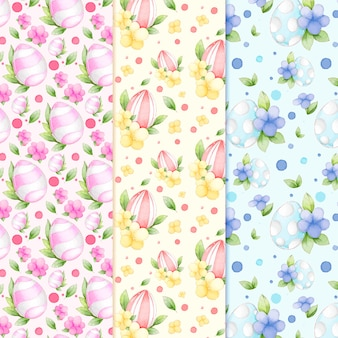 葉と花の水彩パターンとイースターエッグ