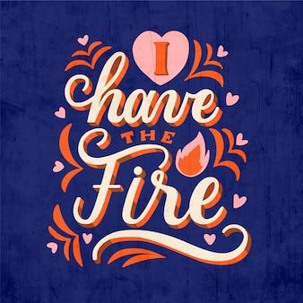 火の自己愛のレタリングがあります