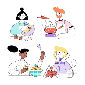 屋内でおいしい料理やデザートを調理する人々